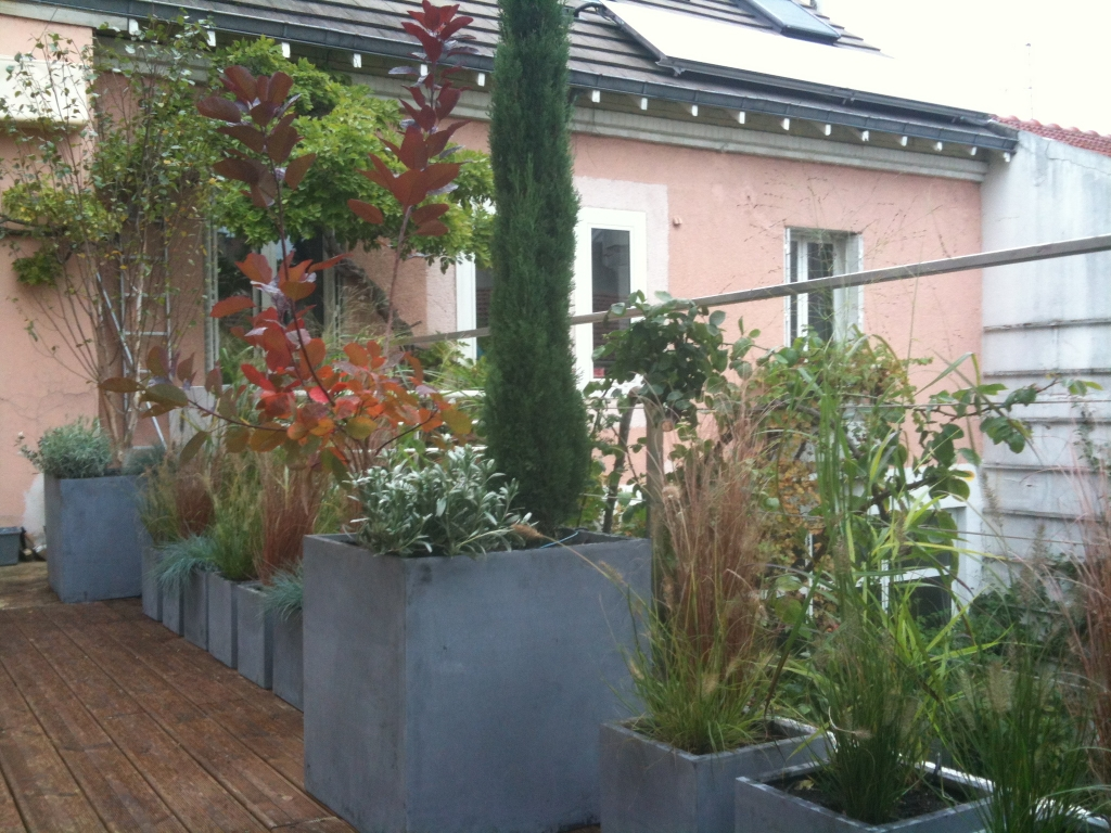 Am nagement paysager d 39 une terrasse paris l 39 aurey - Amenagement balcon paris ...